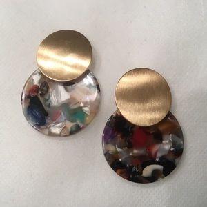 Metal Stud and Acetate Disc Earrings